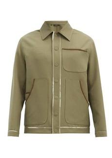Fendi Suede-piped wool-blend gabardine shirt