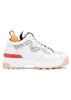 Fendi T-Rex mesh-panel leather trainers