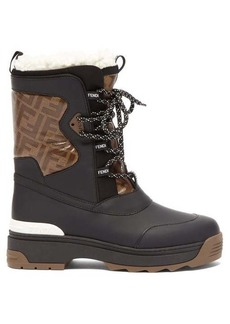 Fendi T-Rex shearling-lined rubberised-leather boots