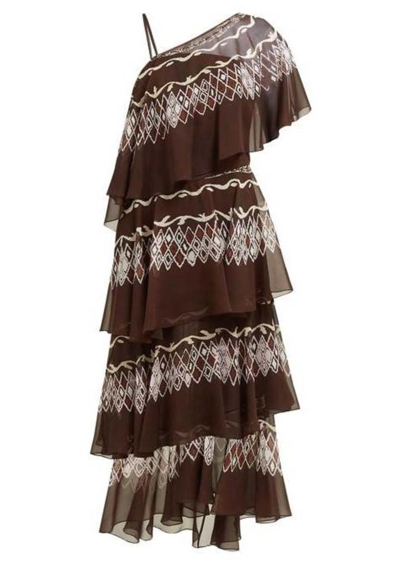Fendi Tiered diamond-print silk gown