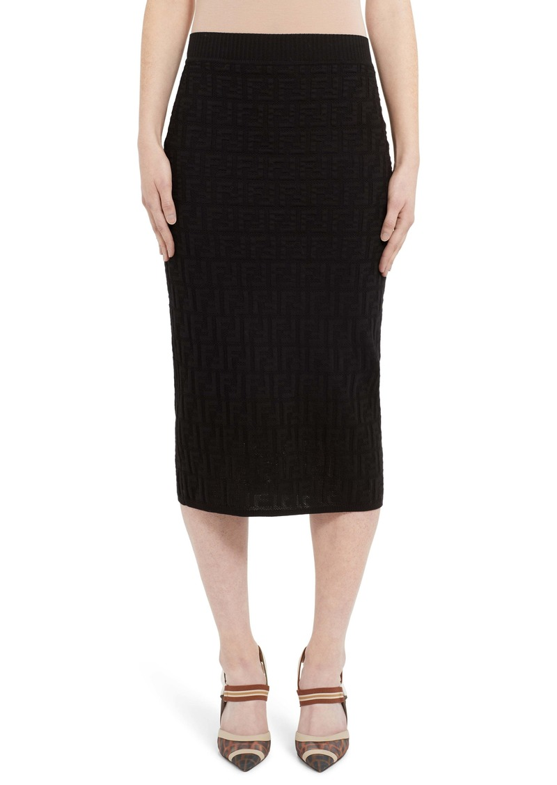 Fendi Tonal Logo Jacquard Pencil Skirt