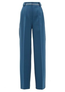 Fendi Topstitched wool-gabardine wide-leg trousers