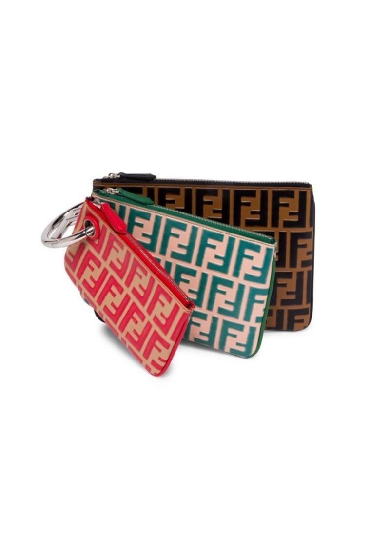 0ec00bccf2f3 Fendi Triplette Logo Clutch Bag