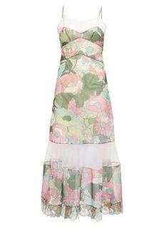 Fendi Windflower-print tulle-panel twill dress