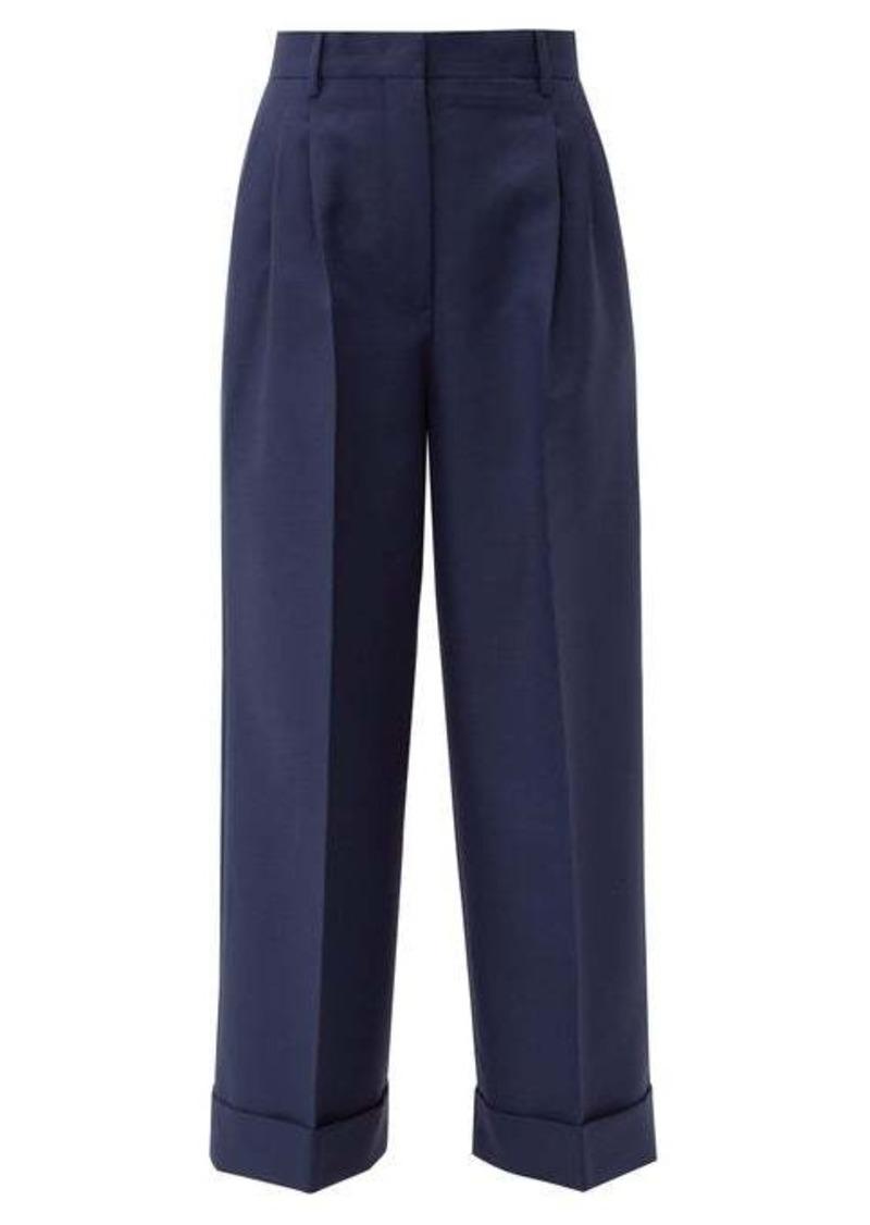 Fendi Turn-up cuff mohair-blend trousers