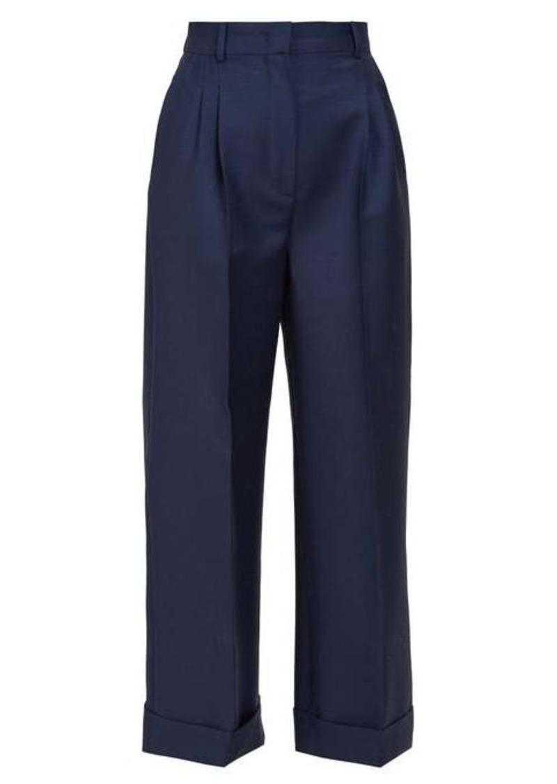 Fendi Turned-up cuff wool trousers