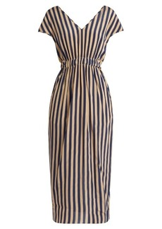 Fendi V-neck striped silk crepe de Chine dress