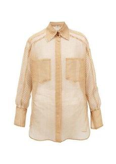 Fendi Vichy silk-organza shirt