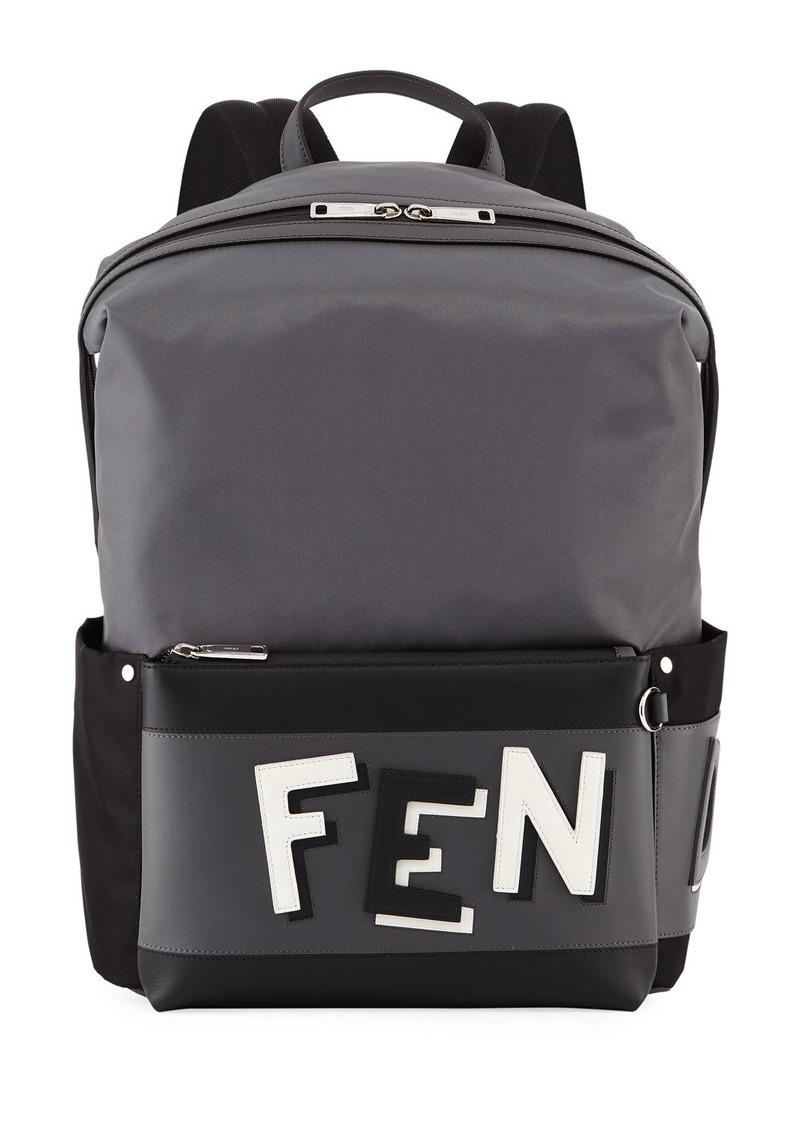 Fendi Fendi Vocabulary Men s Leather-Trim Backpack Now  990.00 2fa4a680a5