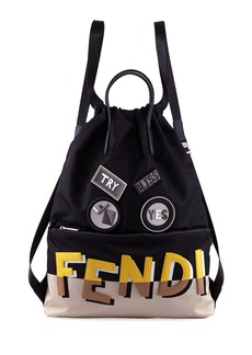 Fendi Vocabulary Monster Face Nylon & Leather Tote Backpack