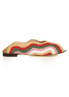 Fendi Wave foldable-heel raffia flats