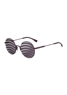 Fendi Waved Stripe Round Sunglasses