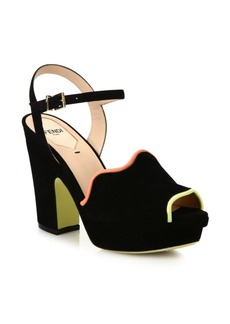 Fendi Waves Suede Platform Sandals