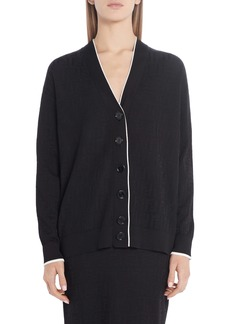 Fendi Whisper Logo Jacquard Cotton Blend Cardigan