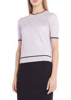Fendi Whisper Logo Jacquard Cotton Blend Sweater