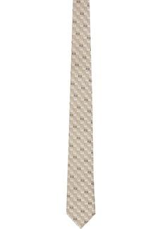 Fendi White & Grey Silk 'Forever Fendi' Tie
