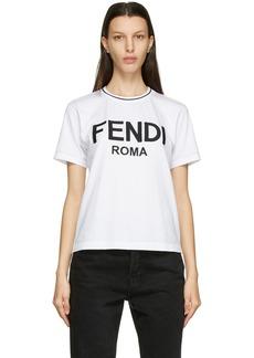 Fendi White Embroidered Logo T-Shirt