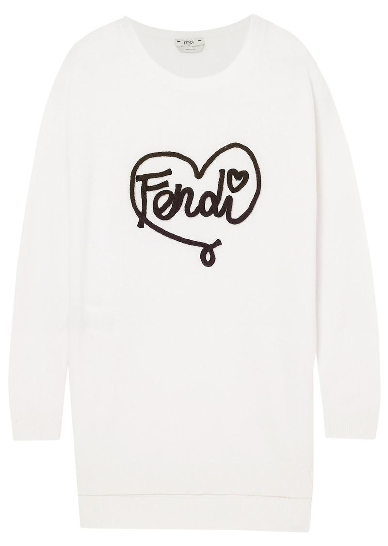 Fendi Woman Appliquéd Cashmere Sweater White