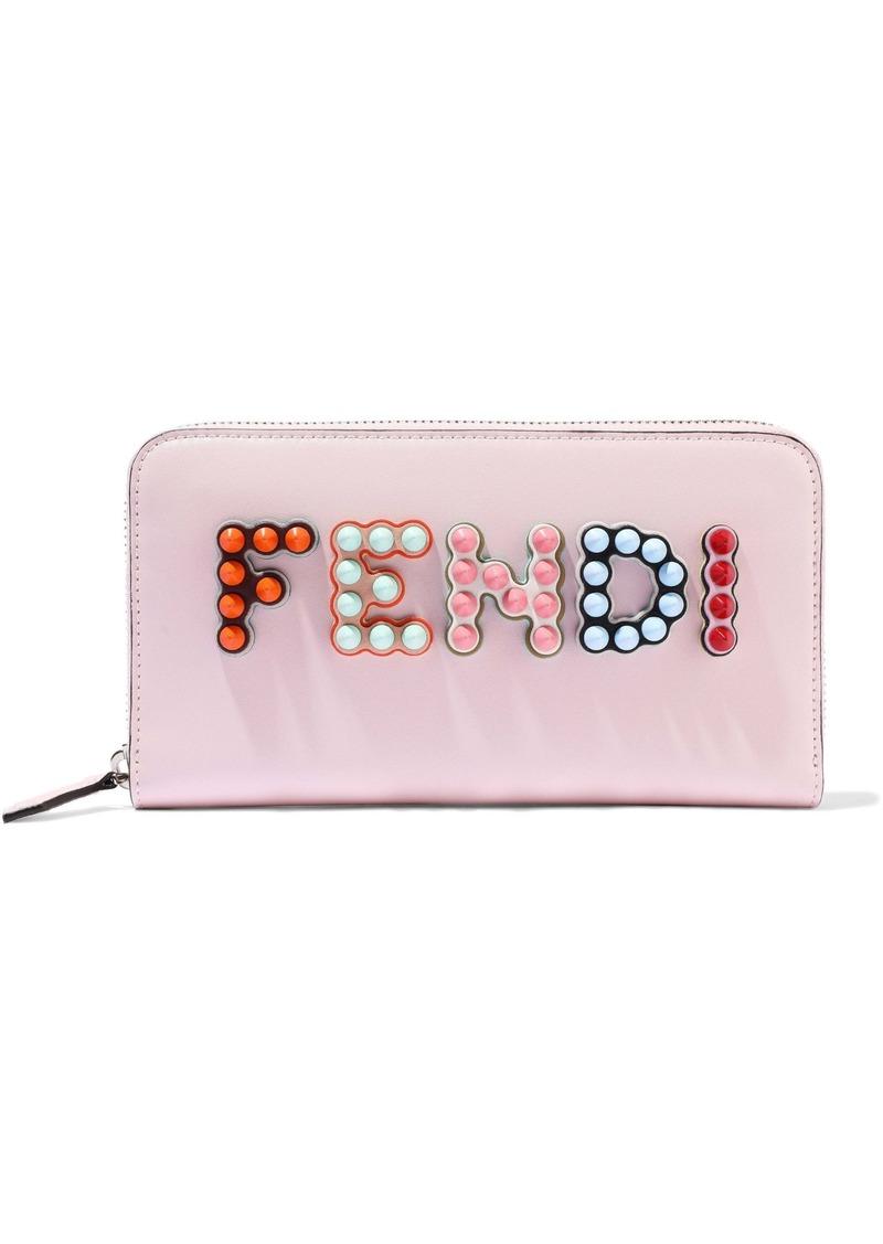 Fendi Woman Appliquéd Leather Continental Wallet Baby Pink