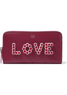 Fendi Woman Appliquéd Leather Continental Wallet Plum