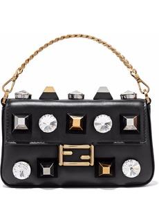 Fendi Woman Baguette Crystal-embellished Studded Leather Clutch Black