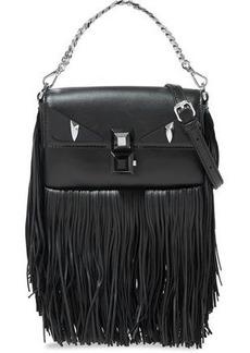 Fendi Woman Baguette Studded Fringed Leather Shoulder Bag Black