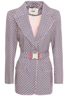 Fendi Woman Belted Printed Silk-jacquard Blazer Multicolor