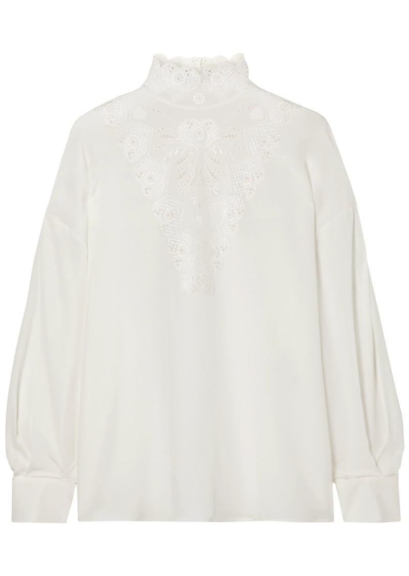 Fendi Woman Broderie Anglaise Silk Crepe De Chine Blouse Ivory