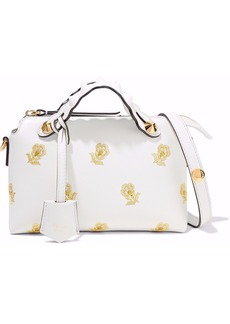 Fendi Woman By The Way Mini Embroidered Leather Shoulder Bag White