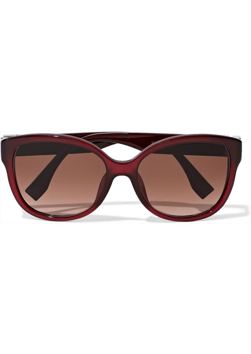 Fendi Woman Cat-eye Crystal-embellished Acetate Sunglasses Burgundy