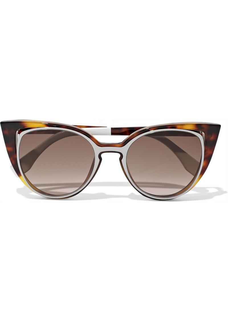 Fendi Woman Cat-eye Cutout Acetate Sunglasses Brown