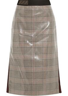 Fendi Woman Chiffon-trimmed Prince Of Wales Checked Glossed-wool Midi Skirt Light Brown