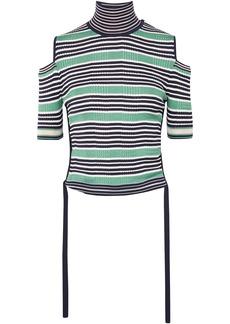 Fendi Woman Cold-shoulder Striped Silk-blend Top Green