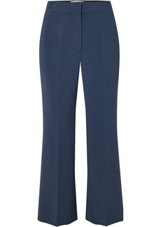 Fendi Woman Cropped Crepe Flared Pants Navy