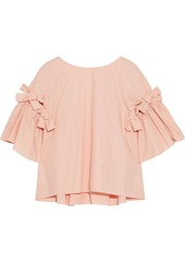 Fendi Woman Cutout Bow-embellished Cotton-poplin Blouse Blush