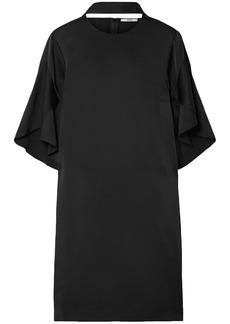 Fendi Woman Cutout Ruffled Satin Mini Dress Black