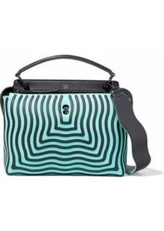 Fendi Woman Dotcom Leather-appliquéd Suede Shoulder Bag Turquoise