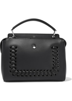 Fendi Woman Dotcom Whipstitched Leather Tote Black