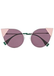 Fendi Woman Cat-eye Silver-tone And Acetate Sunglasses Pink