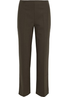 Fendi Woman Embroidered Woven Straight-leg Pants Army Green