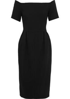 Fendi Woman Off-the-shoulder Pleated Wool-crepe Dress Black