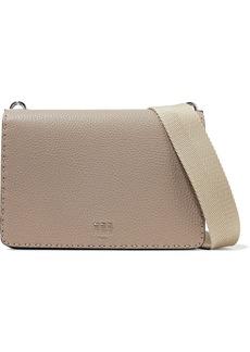 Fendi Woman Pebbled-leather Shoulder Bag Taupe