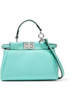 Fendi Woman Peekaboo Micro Leather Shoulder Bag Turquoise
