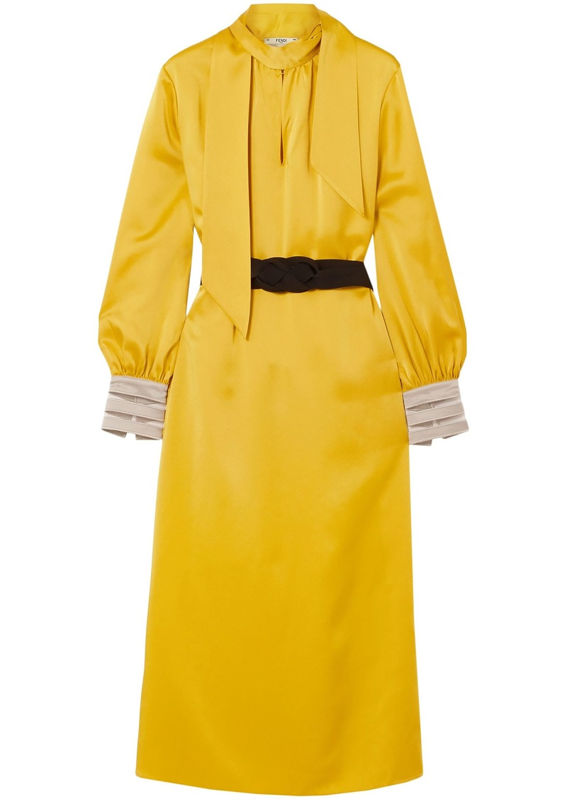 Fendi Woman Pussy-bow Belted Crepe De Chine Midi Dress Yellow