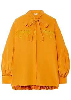 Fendi Woman Pussy-bow Embroidered Pleated Silk Crepe De Chine Blouse Marigold