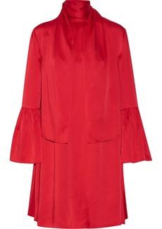 Fendi Woman Pussy-bow Washed-satin Mini Dress Red