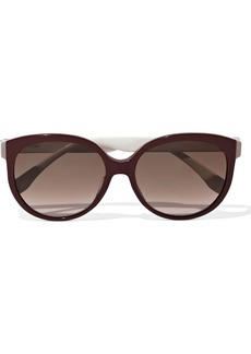 Fendi Woman Round-frame Two-tone Acetate Sunglasses Burgundy
