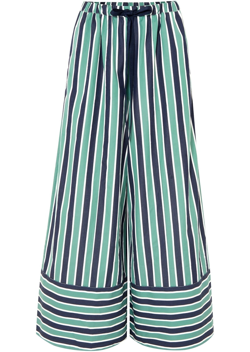 Fendi Woman Striped Cotton-poplin Wide-leg Pants Green