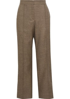Fendi Woman Striped Wool-blend Straight-leg Pants Mushroom