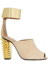 Fendi Woman Stud-embellished Metallic Leather And Suede Sandals Beige